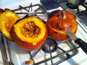 Roasted Pumpkins with Tops Cut Off