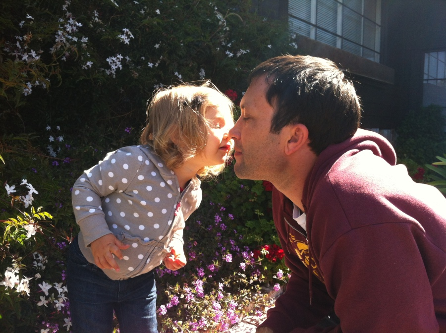 Ellie and dada kiss